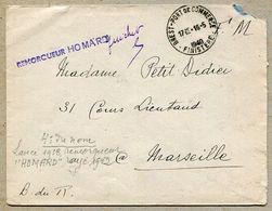 """REMORQUEUR """"HOMARD"""" Linéaire + Horoplan  BREST - PORT DE COMMERCE 1940 - Storia Postale"""