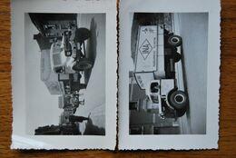 3158/Camions INA Margarinerie PALMAFINA Quai G.Kurth LIEGE (2 Photos 1946) - Camión & Camioneta
