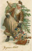 Santa Claus Pere Noel Gaufrée Robe Brune Dorée Embossée - Santa Claus