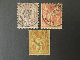 FRANCE Lot De 3 Timbres SAGE 3c 30c 40c 1876-1880 YT 69 70 86 - 1876-1878 Sage (Typ I)