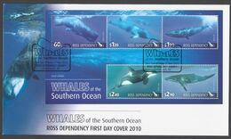 ROSS DEPENDENCY 2010 FDC Whales Of The Southern Ocean Minisheet - FDC
