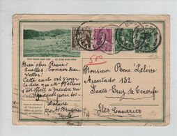377PR/ Entier CP Illustrée 9/10 + TP 337-338-340 C.Uccle 27/6/1932 > Santa Cruz De Tenerife Îles Canaries - Tarjetas Ilustradas