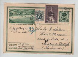 378PR/ Entier CP Illustrée 9/ 6 + TP 302-279 C.Uccle 29/7/1930 > Santa Cruz De Tenerife Iles Canaries C.d'arrivée - Tarjetas Ilustradas