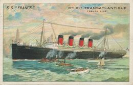 Art Card Paquebot S.S. France CGT Transatlantique à NewYork .  Envoi à Gex Ain . - Piroscafi