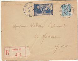 ESC Recommandée 4F50  O. Paris VII R. Clery 1944 - Postmark Collection (Covers)