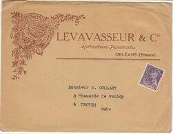 Préo 40C Mercure/ ESC Ornée D'une Rose Levavasseur & Cie  Horticulteurs Pépiniéristes Orléans - Marcophilie (Lettres)
