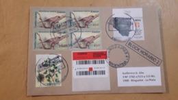 Gandhi, Argentine Enveloppe A Circulé Avec Un Timbre 150 Ans Après La Naissance De Gandhi Et Des Oiseaux - Argentina
