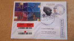 Gandhi, Argentine Enveloppe A Circulé Avec Un Timbre 150 Ans Après La Naissance De Gandhi Et D'autres - Argentina