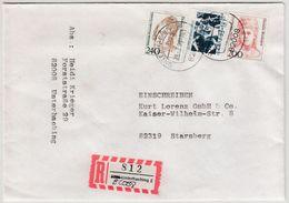BRD - 82008 Unterhaching, Prov. R-Zettel A. Einschreibebrief N. Starnberg 1993 - BRD