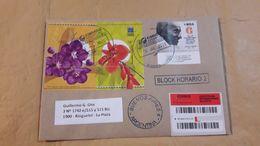Gandhi, Argentine Enveloppe A Circulé Avec Le Timbre 150 Ans De Naissance De Gandhi Et Bloc De Fleurs - Argentina