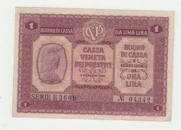 CASSA VENETA DEI PRESTITI BUONO DI CASSA LIRE  1  1918 - Altri