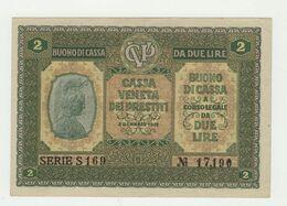 CASSA VENETA DEI PRESTITI BUONO DI CASSA LIRE  2  1918 - Altri