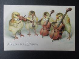 CP GAUFFRéE HEUREUSES PÂQUES (V2020) POUSSINS ORCHESTRE (2 Vues) Violon, Violoncelle, Contre Basse, Flûte - Pasqua