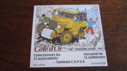 TINTIN AUTOCOLLANT COTE D'OR CITROEN N°3 CROISIERE JAUNE 1931  HERGE - Tintin
