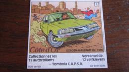 TINTIN AUTOCOLLANT COTE D'OR CITROEN N°7 CITROEN MASERATI SM 1970  HERGE - Tintin
