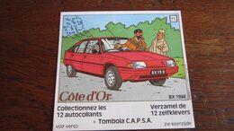 TINTIN AUTOCOLLANT COTE D'OR CITROEN N°11 BX  1984  HERGE - Tintin