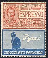 """1924-25 - Francobolli Con Appendice Pubblicitaria - N.E. 60 C. Rosso E Azzurro """"Perugina"""" - Nuovo MNH** - 1900-44 Vittorio Emanuele III"""