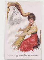 """Carte Fantaisie Signée Arthur Butcher / Jeune Femme Jouant De La Harpe """"Où Est -il En Ce Moment?"""" - Illustrateurs & Photographes"""