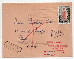 - Lettre ORAN 20.2.1963 - CORPS D'ARMÉE INTENDANCE MILITAIRE A. G. O. T. R. - RETOUR A L'ENVOYEUR - - Algérie (1962-...)