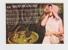 Cpm En Bourgogne - Partition Chanson - Femme Raisin Tonneau Tire-bouchon Vin Blanc - Thème Vigne Vendanges - Bourgogne
