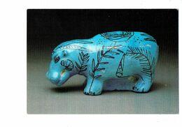 Cpm - Egypt ANTEF à ABOUL NAGA - HIPPOPOTAME Bleu - DESSIN FONDS SOUS-MARINS Escargot Coquillage - Faïence - Hippopotamuses