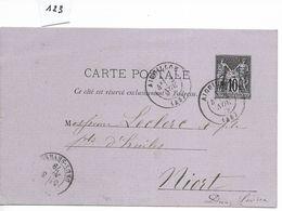 Carte Lettre, Aiguillon (Lot Et Garonne) Vers Niort 1879 - Marcophilie (Lettres)