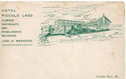 MERGOZZO - Cartolina Pubblicitaria HOTEL PICCOLO LAGO - (rif. D46) - Verbania
