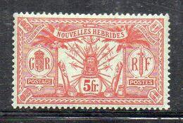 XP3617 - NUOVE HEBRIDI 1911, 5 Fr. Yvert N. 37 * Linguella (2380A) Fil MultiCA - Unused Stamps