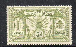 XP3628 - NUOVE HEBRIDI 1911, 5 P. Yvert N. 53 * Linguella (2380A) Fil MultiCA - French Legend
