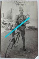 1915 Vosges Cycliste Infanterie Française Mousqueton 1892 Vélo Plaque Tranchées Ww1 14 18 Poilu Carte Pho - Guerre, Militaire