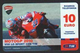 Italia Sport Motociclismo Motogp 2010 Ducati Catalogna Tim 10€ Italy Motorcycling Motocyclisme Deporte Cataluña SCD00029 - [2] Sim Cards, Prepaid & Refills