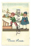 Bonne Année. Couple D'enfants. Plateau, Champagne, Champignons, Trèfle. 1934 - Año Nuevo