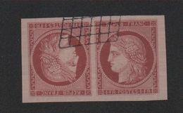 Reproduction N° 6 1 F Cérès Tête-bêche Oblitéré Grille Noire - 1849-1850 Ceres