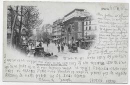 (RECTO / VERSO) PARIS EN 1901 - BOULEVARD SAINT MARTINAVEC PERSONNAGES - BEAU CACHET ET TIMBRE - CPA PRECURSEUR - Arrondissement: 03