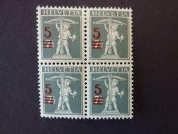 SUISSE, Année 1921, YT N° 181, Bloc De 4 Timbres Neufs MNH** (bas) Et MH* (haut) - Ongebruikt