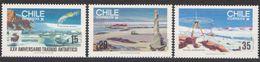 ANTARCTIQUE CHILI 1985 3 TP 25è Anniv. Traité Antarctique N° 699 à 701 Y&T Neuf ** Mnh - Francobolli