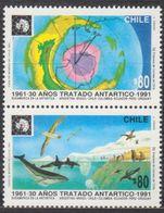 ANTARCTIQUE CHILI 1991 2 TP Se Tenant 30è Anniv. Traité Antarctique N° 1070 à 1071 Y&T Neuf ** Mnh - Francobolli