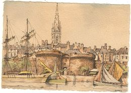 35 - Illustrateur Barday - Saint Malo, La Grande Porte (papier Parchemin) 15x10.5    253 - Saint Malo