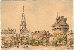 35 - Illustrateur Barday - Saint Malo Le Chateau Porte Saint Vincent (papier Parchemin) 15x10.5    253 - Saint Malo