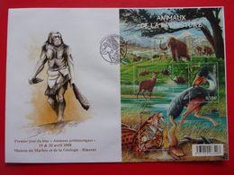FDC Animaux Préhistoriques Maison Du Marbre Et La Géologie Rinxent Homme Préhistoirique Prehistoric Man Uomo Preistorico - Prehistorics