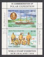 ANTARCTIQUE NOUVELLE ZELANDE 1990 2 TP Se Tenant World Stamp Exhibition (2) Neuf ** Mnh - Francobolli