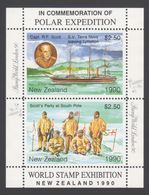 ANTARCTIQUE NOUVELLE ZELANDE 1990 2 TP Se Tenant World Stamp Exhibition (2) Neuf ** Mnh - Briefmarken
