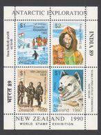 ANTARCTIQUE NOUVELLE ZELANDE 1990 4 TP Se Tenant World Stamp Exhibition (3) Neuf ** Mnh - Francobolli