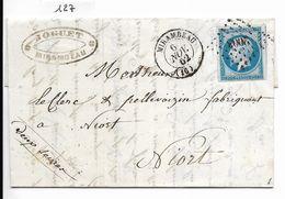 Lettre Napoléon 20 C Non Dentelé Mirambeau (losange PC 2003) (Charente-Maritime)vers Niort (cachet Joguet) - 1849-1876: Période Classique