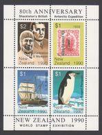ANTARCTIQUE NOUVELLE ZELANDE 1990 4 TP Se Tenant World Stamp Exhibition (4) Neuf ** Mnh - Francobolli