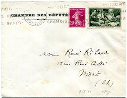 LETTRE : Yvert Croix Rouge N° 459 + Semeuse 20 C 1940 - Cartas