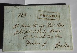 Italie 1810 – Marque Noire PESARO – MARIONI Ferrara Badia – BONATTI Pesaro - 1. ...-1850 Prefilatelia