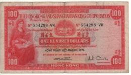 HONG KONG   $ 100  The Hong Kong & Shanghai Banking Corp.   P183c    Dated 18th March 1971 - Hongkong