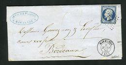 Belle Lettre De Marmande ( Lot & Garonne 1856 ) Avec Un N°14Aa - Cachet PC 1885 - 1849-1876: Klassik