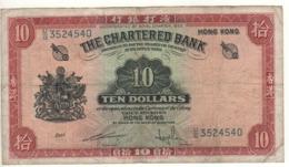 HONG KONG   $ 10  The Chartered Bank  P70c (ND  (1962-1970) - Hongkong